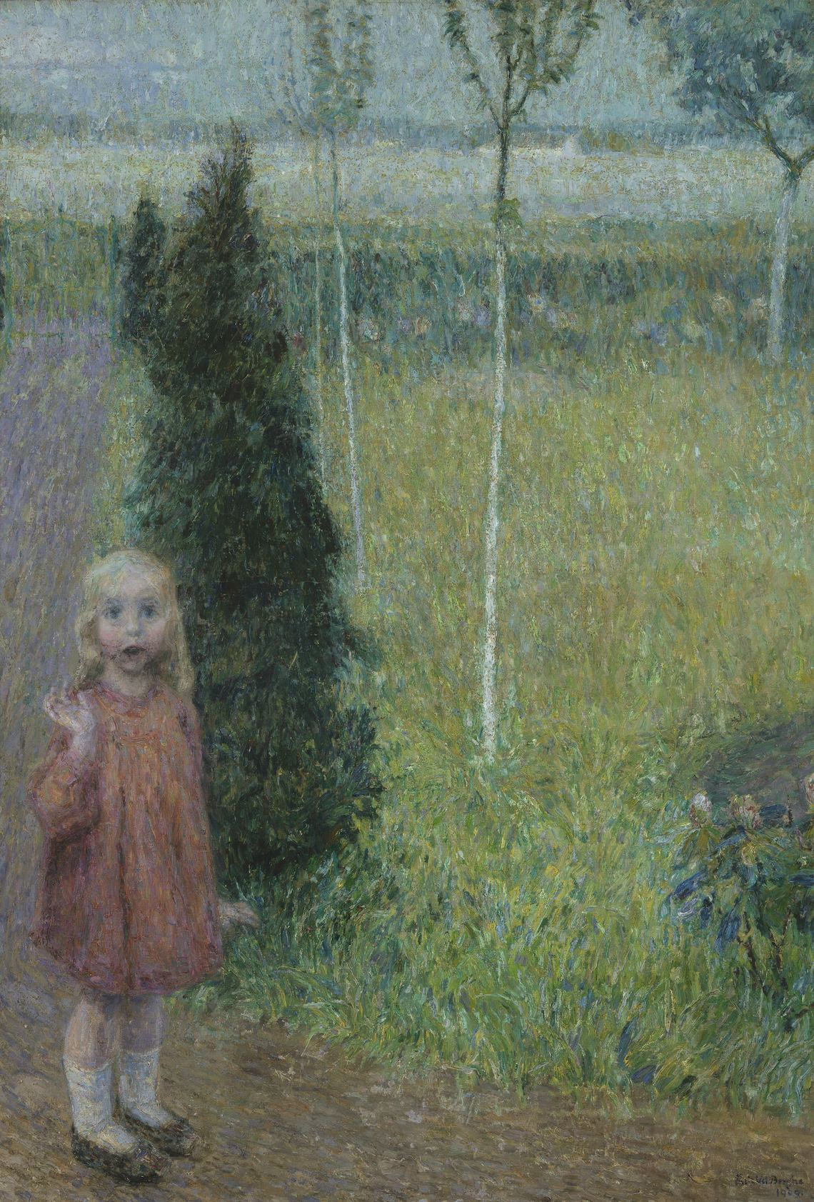 Little Girl In The Garden Frits Van Den Berghe 1909
